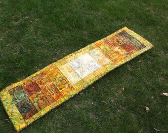 Batik blocks quilted table runner bed runner