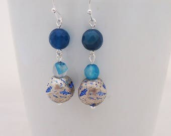 Blue Agate Earrings, Blue Gemstone Earrings, Handmade Blue Agate Earrings, Dangle Agate Earrings