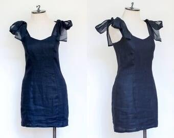 vintage 1990s black linen shoulder tie dress   90s Karen Warren mini dress with organza tie straps   XS - S