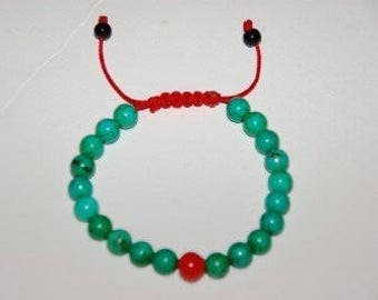 Turquoise Wrist Mala/ Bracelet with Coral Spacer GMS-69