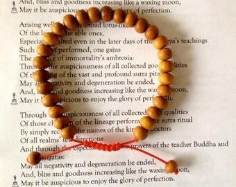 Tibetan Sandalwood Wrist Mala/ Bracelet for Meditation - Red String
