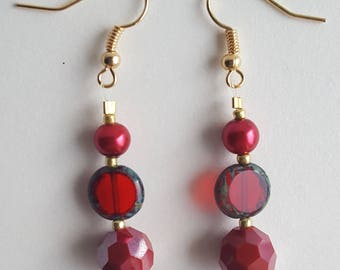 Red Glass Earrings - Red Dangle Earrings - Red and Gold