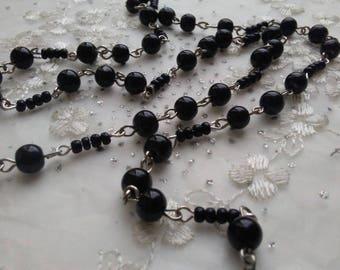 "Jet Black 6 mm  Smooth Round  Glass Beaded Rosary Brass Chain Links, 36"",  Handmade Jewelry Supply"