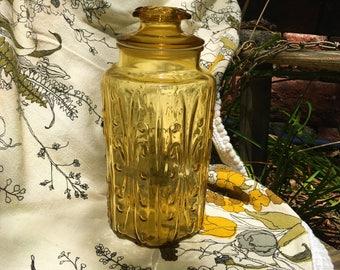 Mid-century Canister Jar Vintage Amber Glass Mod 1960s 1970s Tall Imperial Atterbury