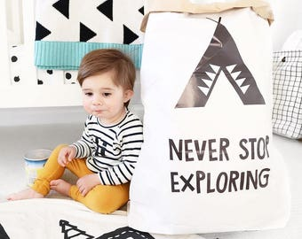 Never stop exploring toy storage, paper bag storage, kids minimalist interior, black and white toy storage, nursery storage, toy storage bin