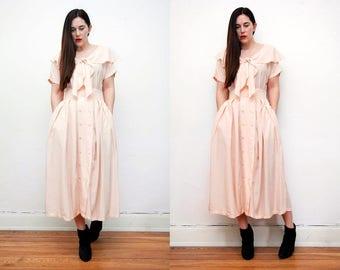 Vintage Peach Blush Garden Tea Dress Grunge Revival 80s Maxi Dress