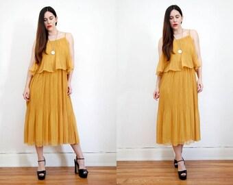 Vintage Gold Mustard Frill Bohemian Grecian Hippie Swing Dress 70's