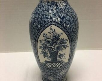 Vintage Porcelain Vase Blue and White