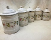 Antique French enameled kitchen canisters set white base & hand painted flowers signed Etoile P.E.N. early 1900's, french vintage spice pots