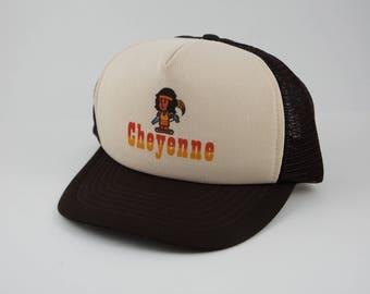 Vintage 80's Cheyenne Wyoming Native American Snapback Trucker Hat