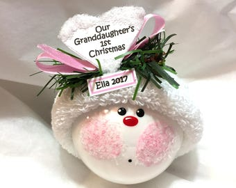 Our Granddaughter's Grandson's 1st Christmas Ornament Choice Personalized Hand Painted Handmade Themed Townsend Custom Gifts (F)