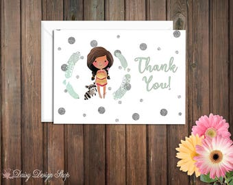 Thank You Cards - Pocahontas and Laurel in Watercolor Style - Native American Princess - Set of 10 with Envelopes