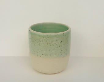 robins egg blue ceramic tumbler