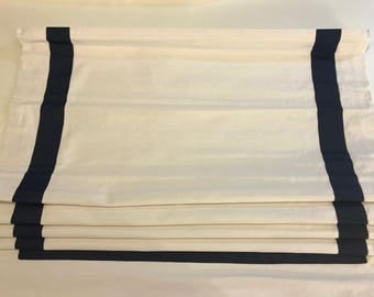 Clearance Navy Ribbon Trim on white cotton