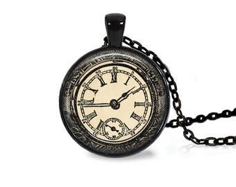 """25mm Antique Clock Cabochon Black 18"""" Necklace"""