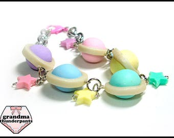 Candy Planet Bracelet, Fairy Kei Space, Handmade Pastel Jewelry, Pastel, Original Design