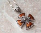 Orange Maltese Cross Necklace Sterling Silver Marcasites Vintage V0392