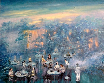 Dreamer's cafe. 65 cm x 70 cm.Original oil painting .Canvas stretched.