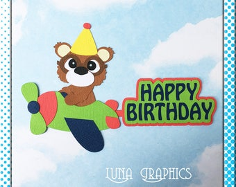 BIRTHDAY PLANE Embellishment Paper Piecing card making and scrapbooking