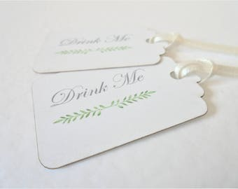 Drink Me Tags, Alice In Wonderland, Botanical Tags, Summer Wedding, Choice Of Ribbon Colors Set Of 10