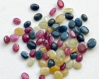 ON SALE 50% WHOLESALE 10 Cts, 12 Pcs Multi Sapphire Faceted Oval Cut stone, Loose Sapphire Stone, Sapphire Jewelry, 5x6mm - 8x10