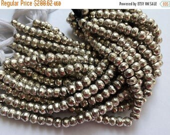 ON SALE 50% WHOLESALE 5 Strands Silver Pyrite Beads, Silver Pyrite Faceted Rondelles, Pyrite Necklace, 7.5mm Beads, 8 Inch Strand, 35 Pcs