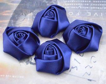 30 roses, satin roses, Navy satin rose flowers, satin flowers, fabric flowers, applique rose, handmade ribbon flowers wholesale 45mm