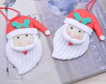 10 Santa drops , Fifi Rehbinder Santa charms, Jewelry FIMO Santa pendants, Necklace pendant, Santa decoration 55x69mm