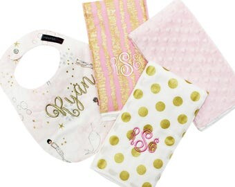 Pink and Gold Gift Set - Pink and Gold Mermaids - Monogrammed Baby Bib and Burp Cloth - Baby Shower Gift - Personalized Baby Gift