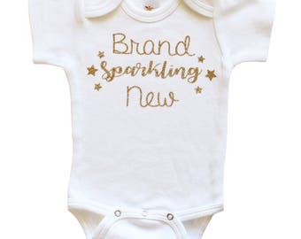 Brand Sparkling New Bodysuit - Glitter Bodysuit- Just Born Baby- Baby Shower Gift- Sparkle Baby Gold Glitter Gold Bodysuit- Take Home Outfit