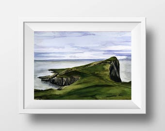 Iona Island, Scottish landscape, Scotland, highlands, Hills, Cottage - Original Watercolor Painting - 8 x 11 inches