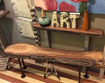 Handmade Rustic Live Edge Raw Wooden Log Bench One of a Kind
