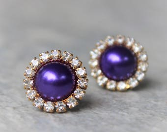 Purple Earrings, Purple Pearl Earrings, Purple and Gold or Silver Setting, Purple Bridesmaid Earrings, Bridesmaid Jewelry, Purple Pearls