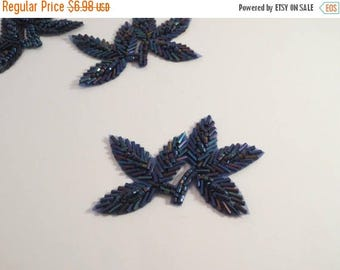 ON SALE Blue Iris Leaf Design Beaded Applique-One Piece