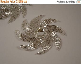 ON SALE Silver Starburst Beaded Applique--One Piece
