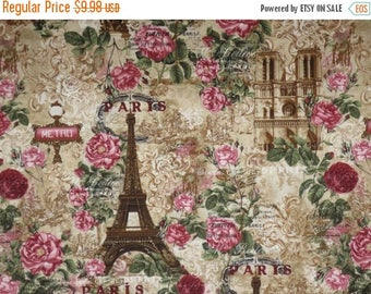 ON SALE Wonderful Paris Roses in Sepia with Red and Pink Print Pure Cotton Fabric--One Yard