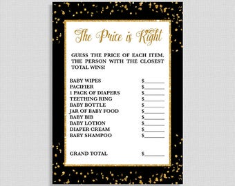 The Price is Right Shower Game, Black and Gold Glitter Confetti Game, Gender Neutral Baby Shower Activity, DIY Printable, INSTANT DOWNLOAD