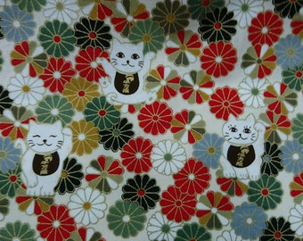 """Japan beckon cat,money and flower - 1 yard - cotton linen  - 4 colors - cat fabric , Check out with code """"5YEAR"""" to save 20% off"""