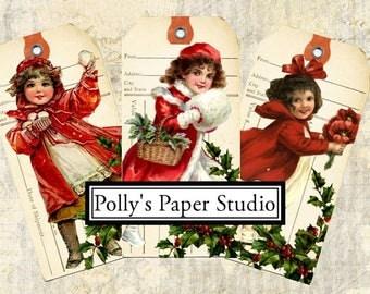 Dollar Download Vintage Christmas Children Tag  Images Collage Digital Images printable download file 6 images