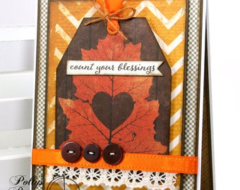 Count Your Blessings Fall-Thanksgiving Greeting Card Polly's Paper Studio Handmade