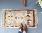 vintage Turkish rug, rustic geometric  tiny rug, earthy happy colors wool rug, meditation rug, bath mat, door mat