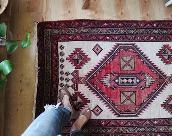 vintage Persian rug, rustic geometric runner rug, happy bohemian wool rug, meditation rug