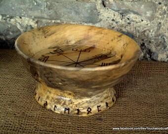 Vegvisir offering bowl, Viking compass ritual, Norse, Futhark Runes, Viking, LARP, OOAK, Pagan, Heathen, Asatru, BLOT,  Viking gift,