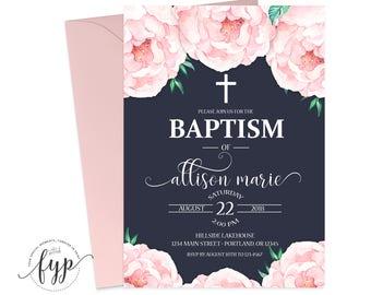 Floral Baptism Invitation Girl Printable Floral Baptism Invites Girls Baptism Baby Girl Christening Invitation Pink Peonies Naming Day