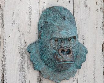 ON SALE Gorilla Head Wall Mount /  Animal Head Decor / Faux Taxidermy / Gorilla  Head Wall  Decor / Monkey Decor