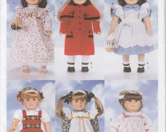 Doll Clothes Pattern for 18 Inch Doll Dress Coat Hat Pinafore Nightgown Uncut Butterick 5589