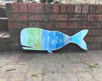 Whale Sign Small Wall Art Beach House Decor Striped Sea Glass Colours Wood by CastawaysHall - Ready to Ship