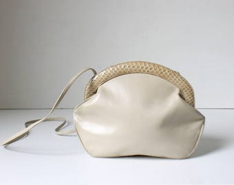 Salvatore Ferragamo White Leather and Snakeskin Shoulder Bag // Designer Top Opening Cross-Body Purse