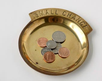 Solid Brass Small Change Coin Dish. Money Holder. Man Cave Gift. Table Accent. Home Accessory. Storage Container. Rustic Farmhouse Decor.