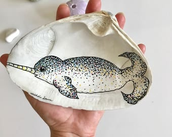 Narwhal Whale Ring Holder, Jumbo, Gifts for Her, Narwhal Art, Whale Ring Dish, Jewelry Dish, Wife Gift, Narwhal Gift